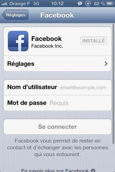 Compte facebook réglages puis onglet facebook et entrez vos