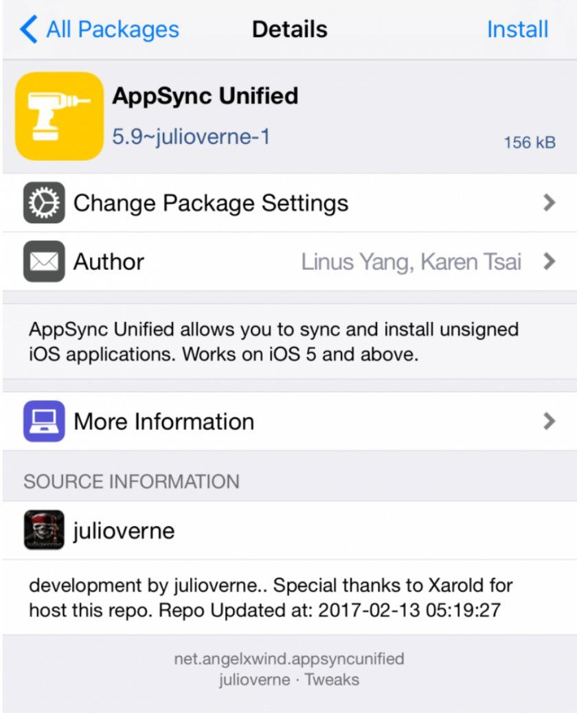 appsync unified ios 10 jailbreak tweak cydia