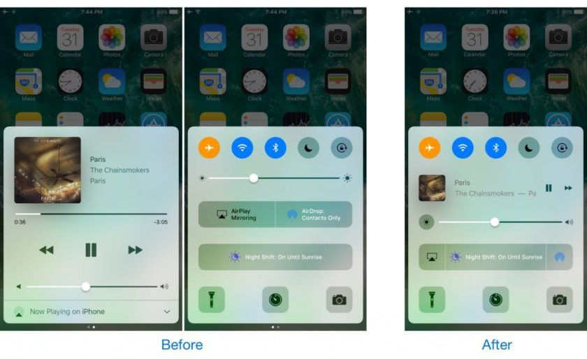 horseshoe before and after control center tweak