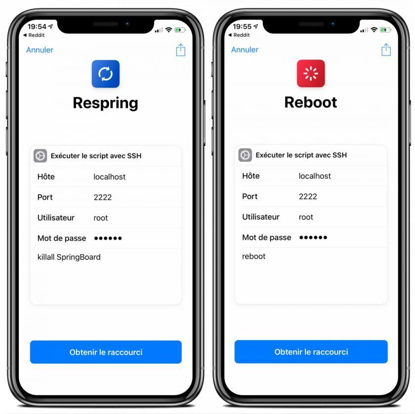 Deux Raccourcis iOS 12 pour effectuer un Respring ou un