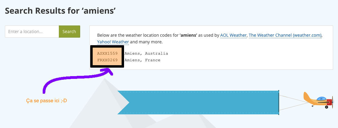 weather codes result