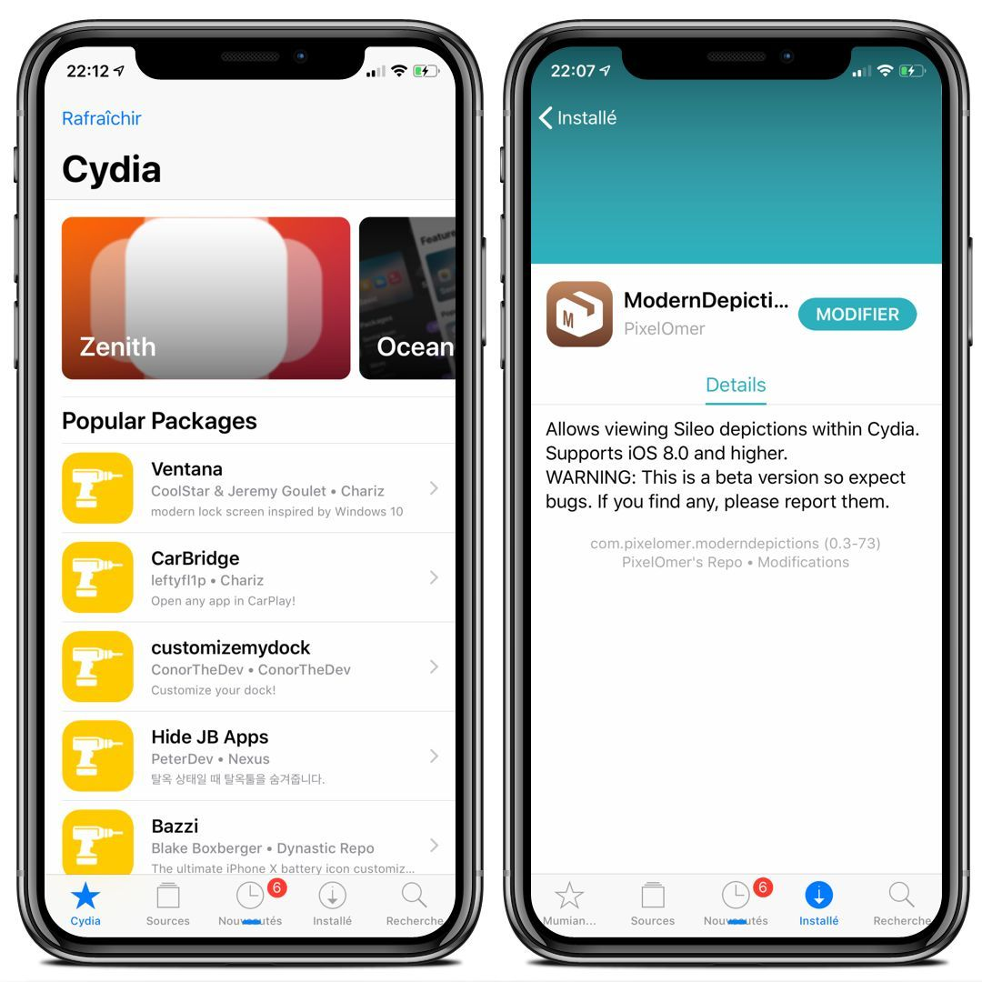 ModernDepictions : Un tweak pour moderniser Cydia en lui