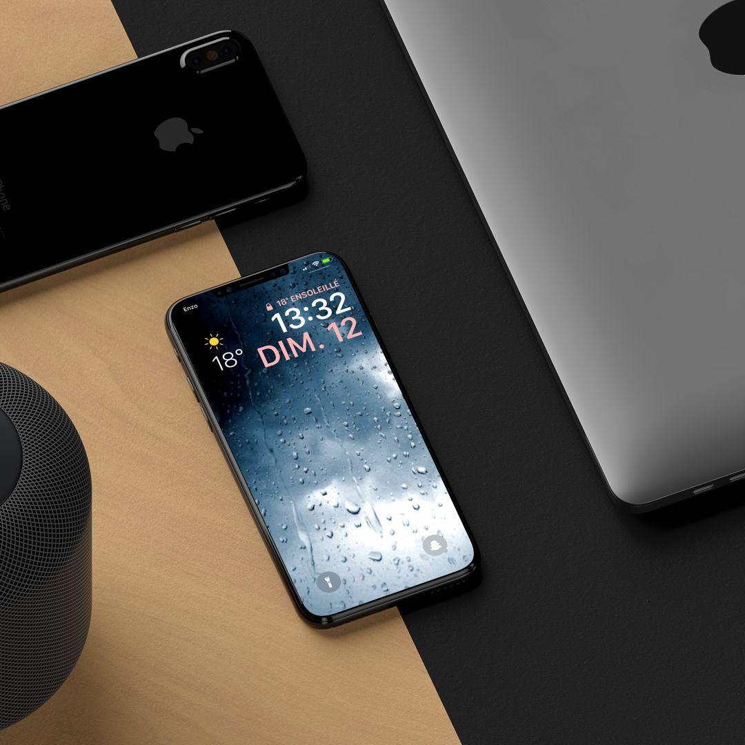 Rain : Un fond d'écran animé avec des gouttes d'eau sur iPhone